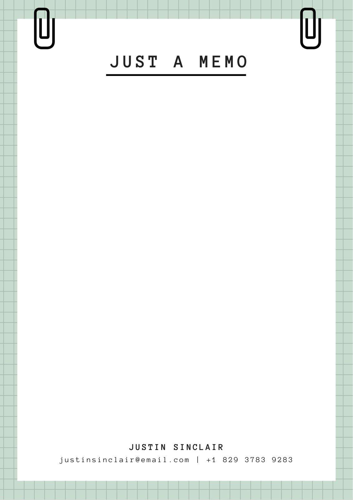 Pale Green Grid Minimalist Paperclip General Memo