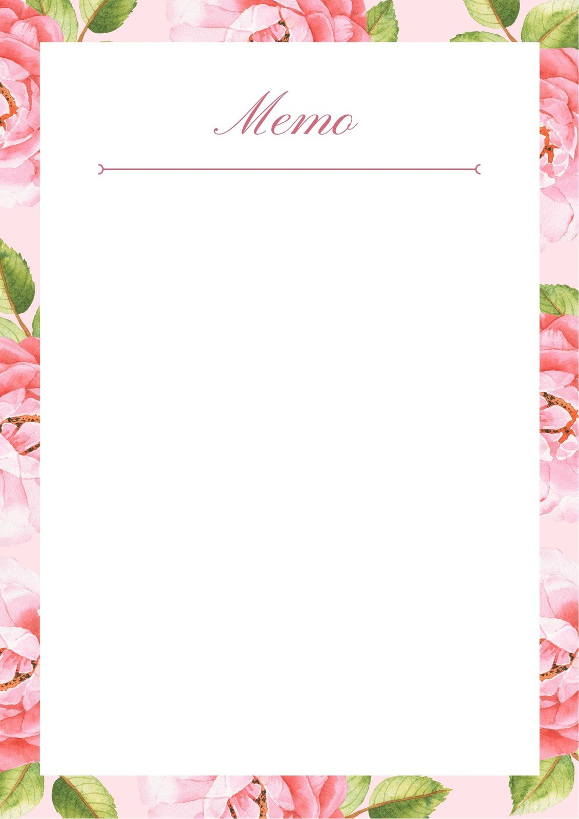 Pink and White Floral Watercolor Illustration Memo