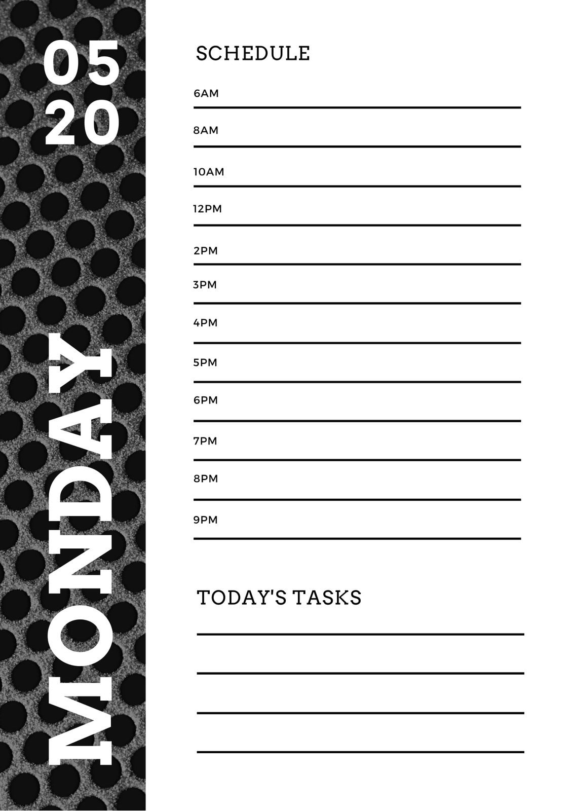Black and White Metal Texture Daily Planner