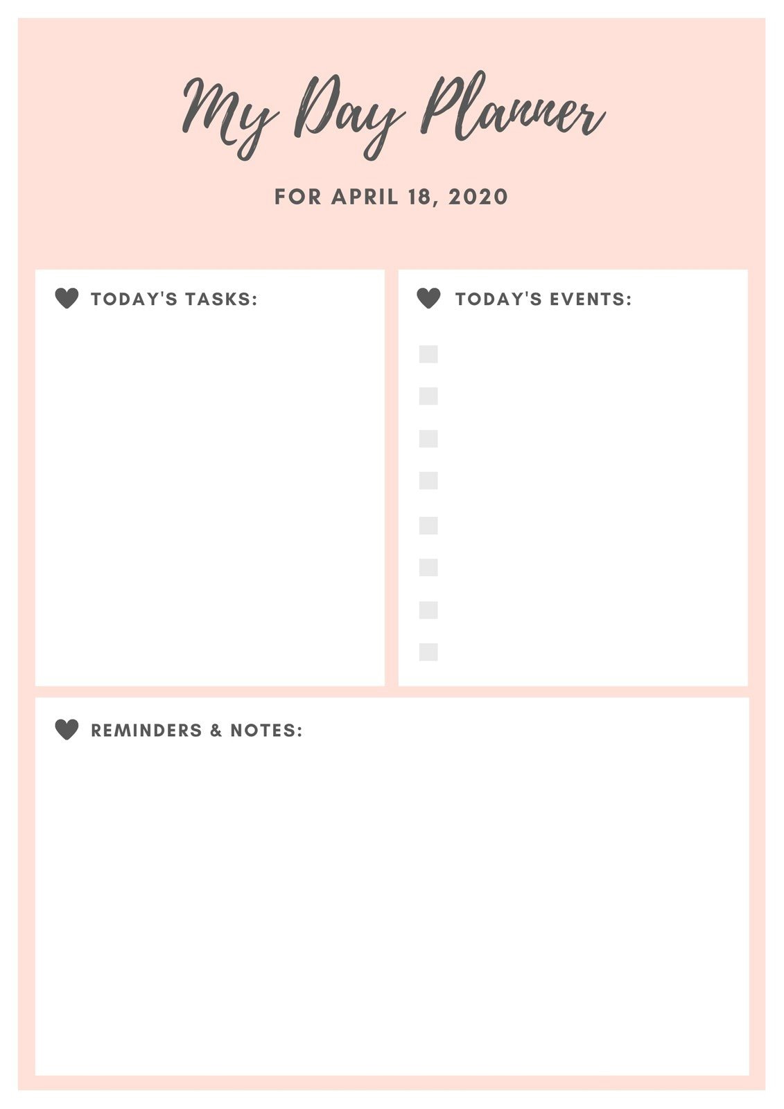 Baby Pink and Black Heart General Daily Planner