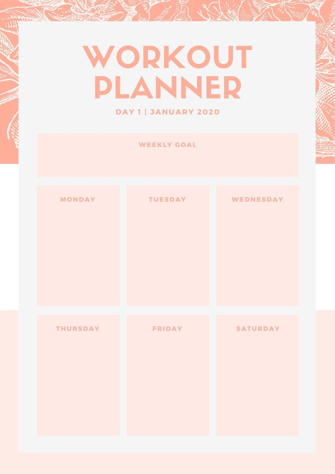 Pink Floral Illustration Workout Planner