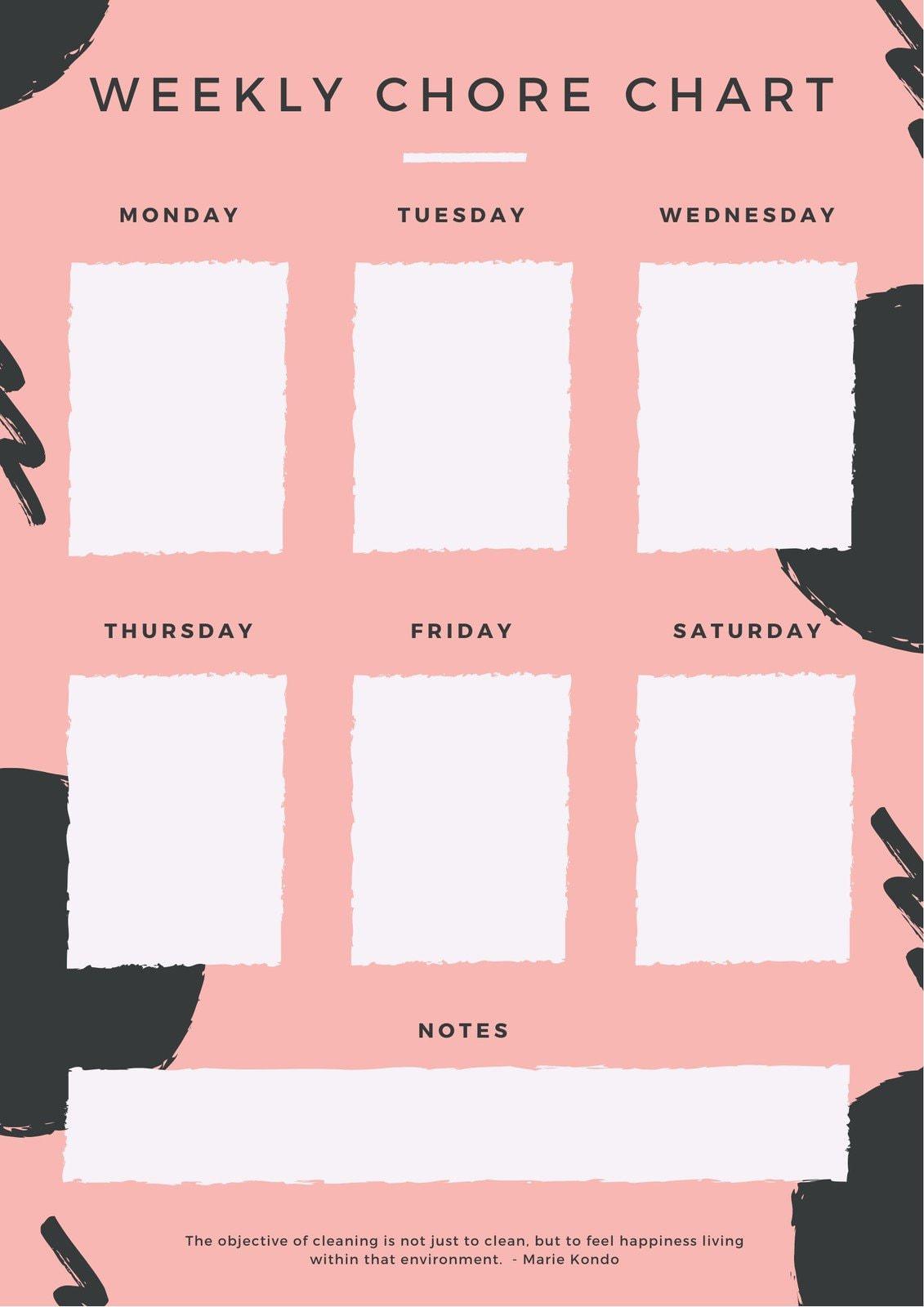 Peach Creative Chore Chart Planner