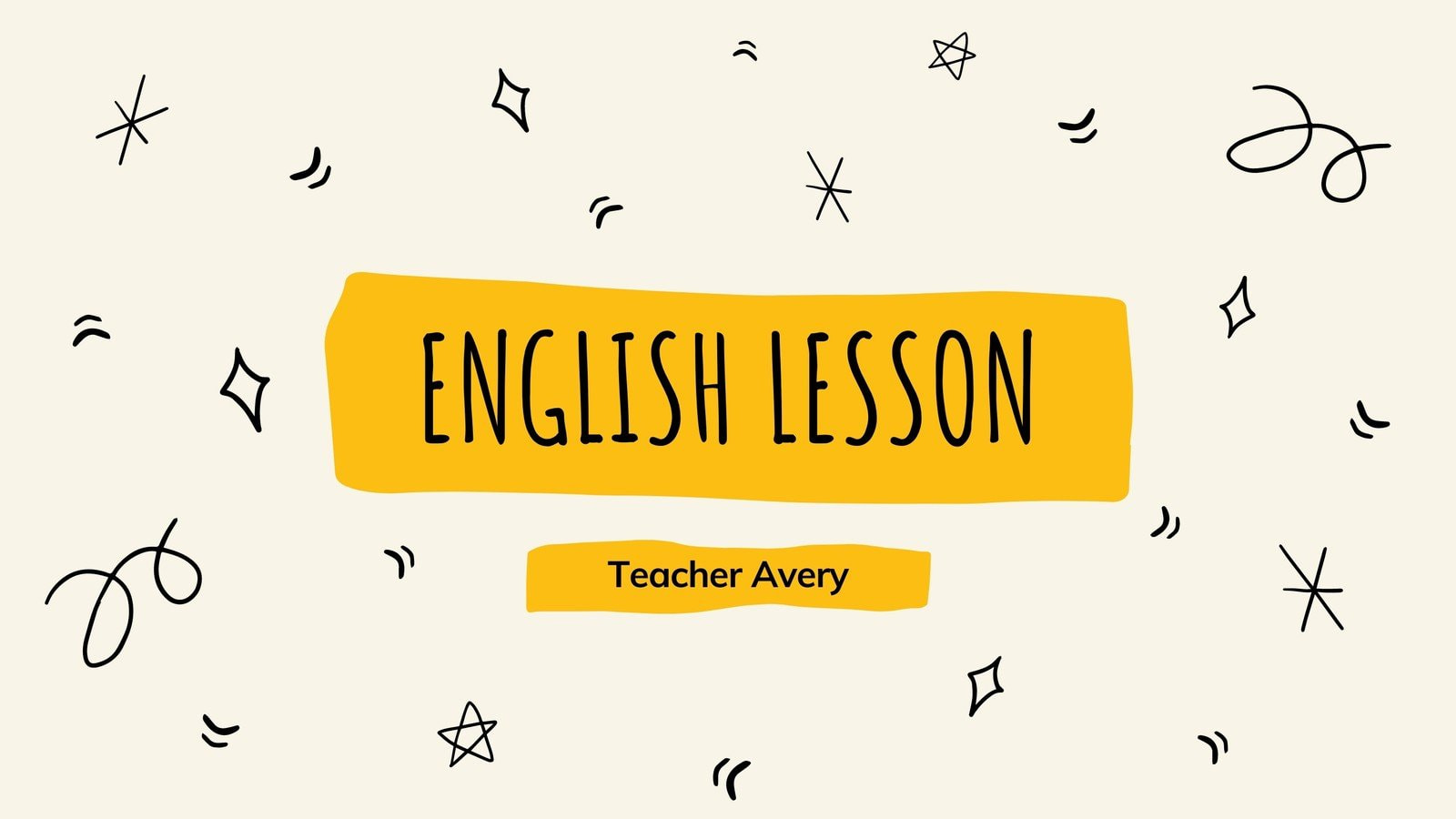 Cream and Yellow Hand Drawn English Class Education Video Presentation