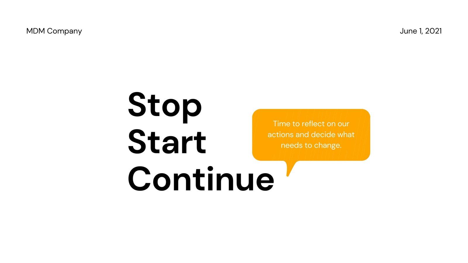 Stop Start Continue Brainstorm Video Presentation