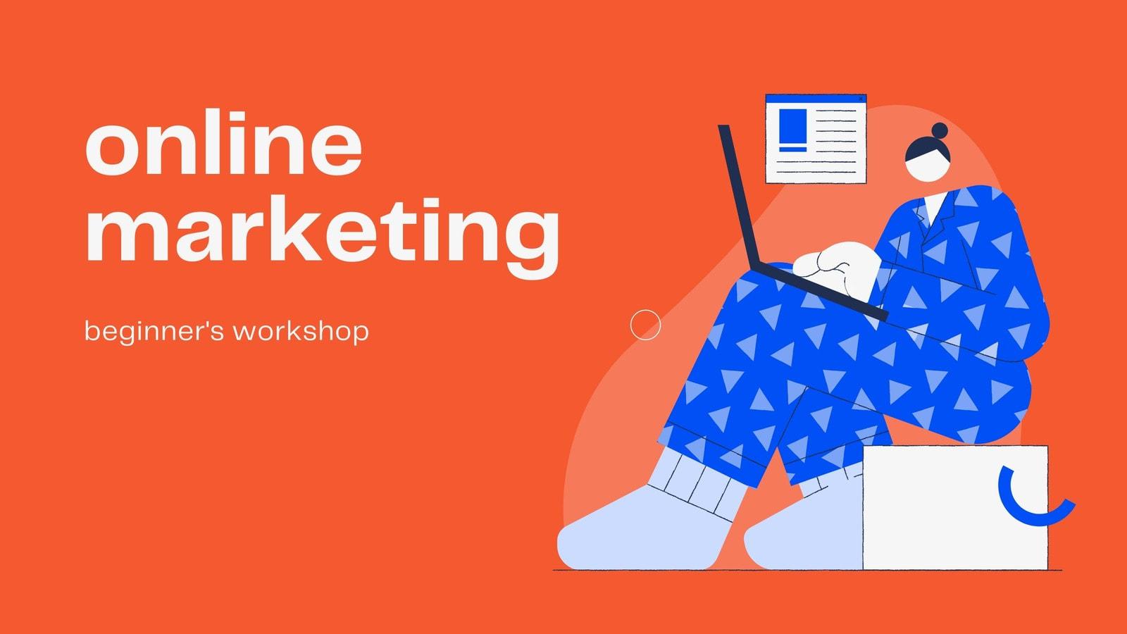 Bold Orange and Blue Illustrated Online Marketing Video Presentation