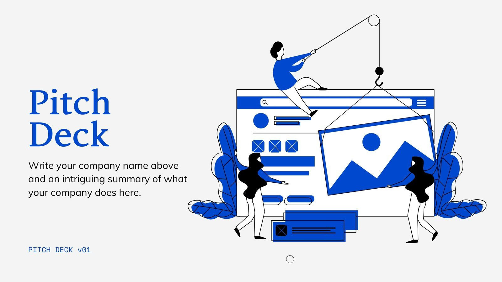 Blue and White Illustrated Finance Pitch Deck Presentation