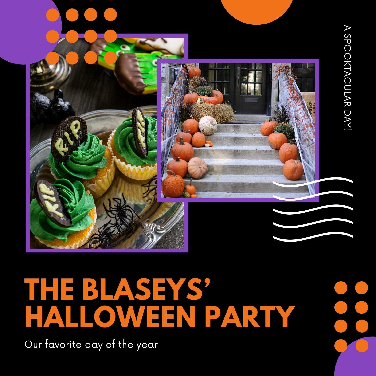 Black, Orange and Purple Geometric Halloween Events Video Collage