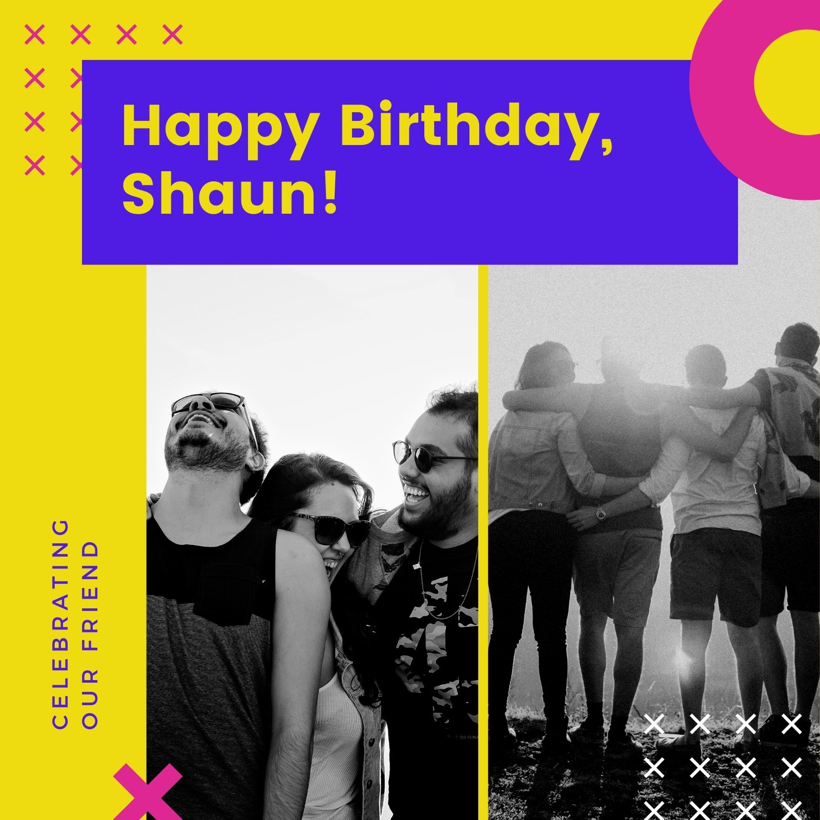 Yellow , Pink and Blue Geometric Birthday Event Video Collage