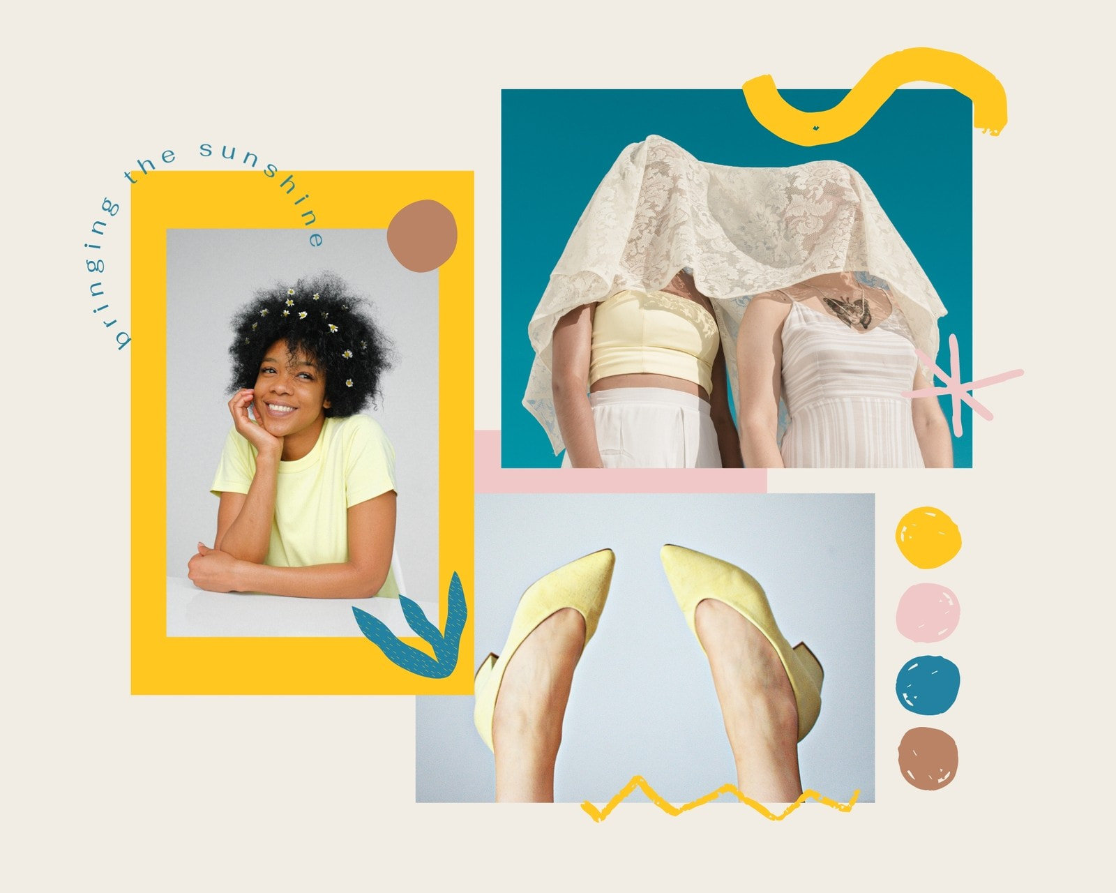 Yellow and Blue Bright and Playful Fashion Moodboard Photo Collage