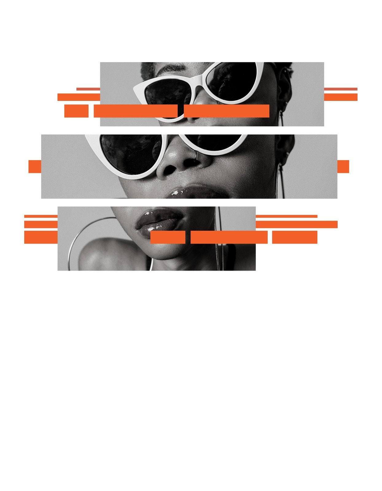 Оранжевый Черный и Белый Солнцезащитные очки Большой Сестра Минимальный Жирный Футболка