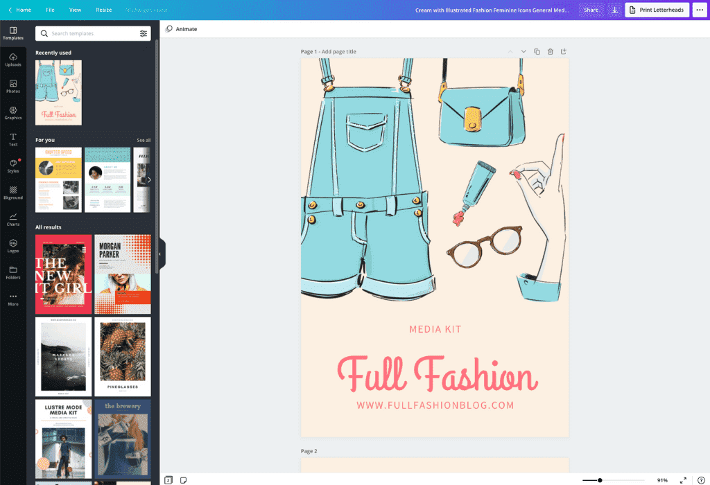 How to make a media kit - Canva