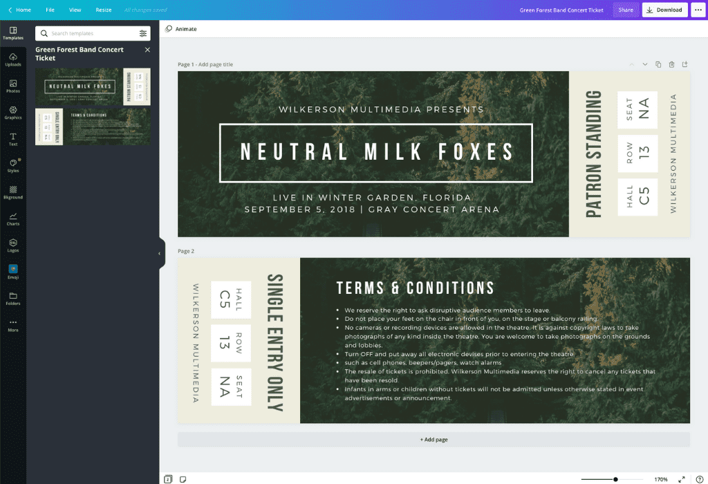How to make a ticket - Canva