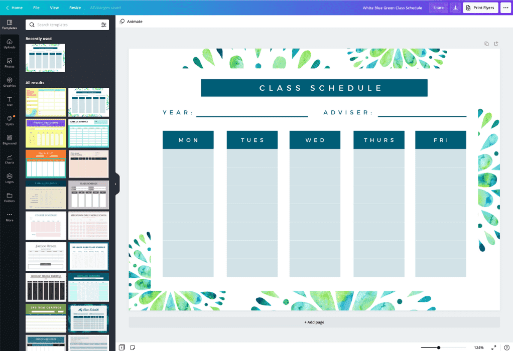 How to make a class schedule - Canva