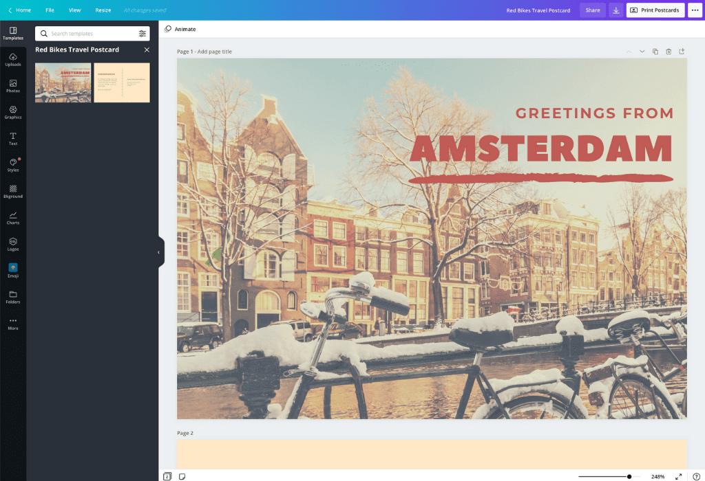 Slik lager du et postkort – Canva