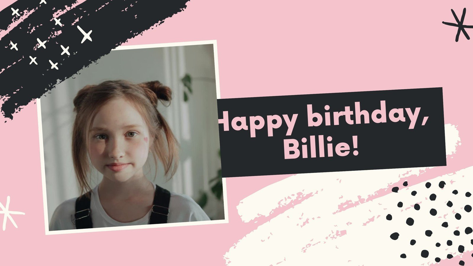 Pink and Black Girl Shapes Scribbles & Brushes Birthday Greetings Slideshow Video