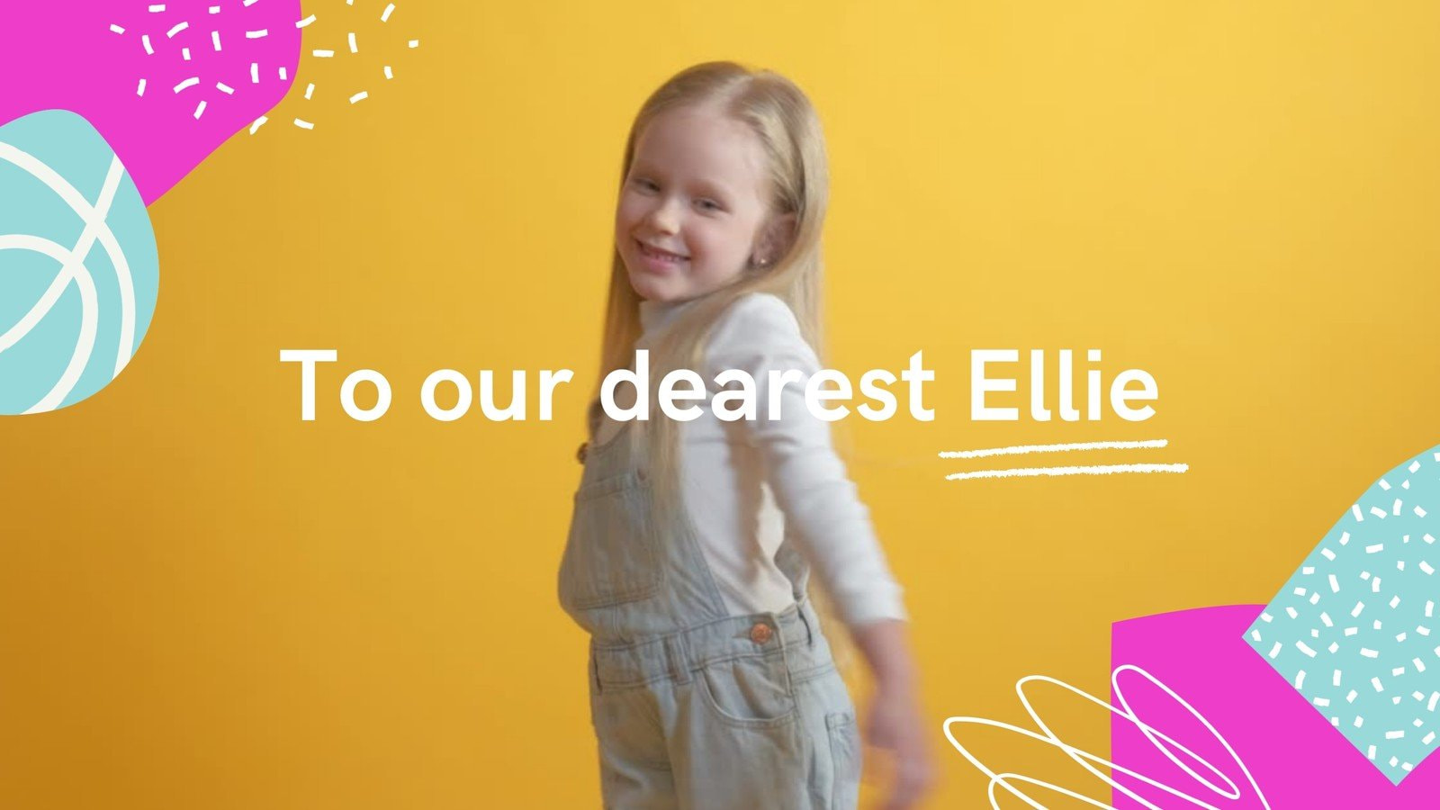 Yellow Pink and Turquoise Girl Shapes Scribbles & Brushes Birthday Greetings Slideshow Video