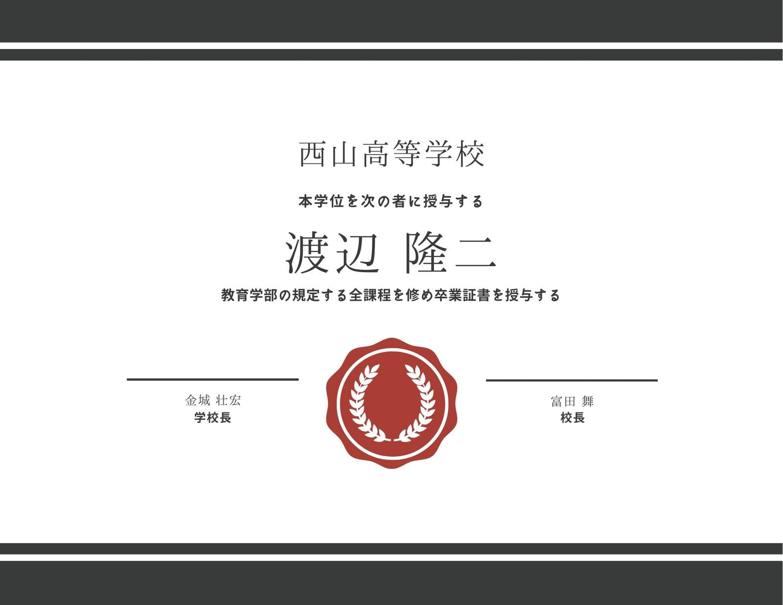 赤 ライオンエンブレム 卒業証書