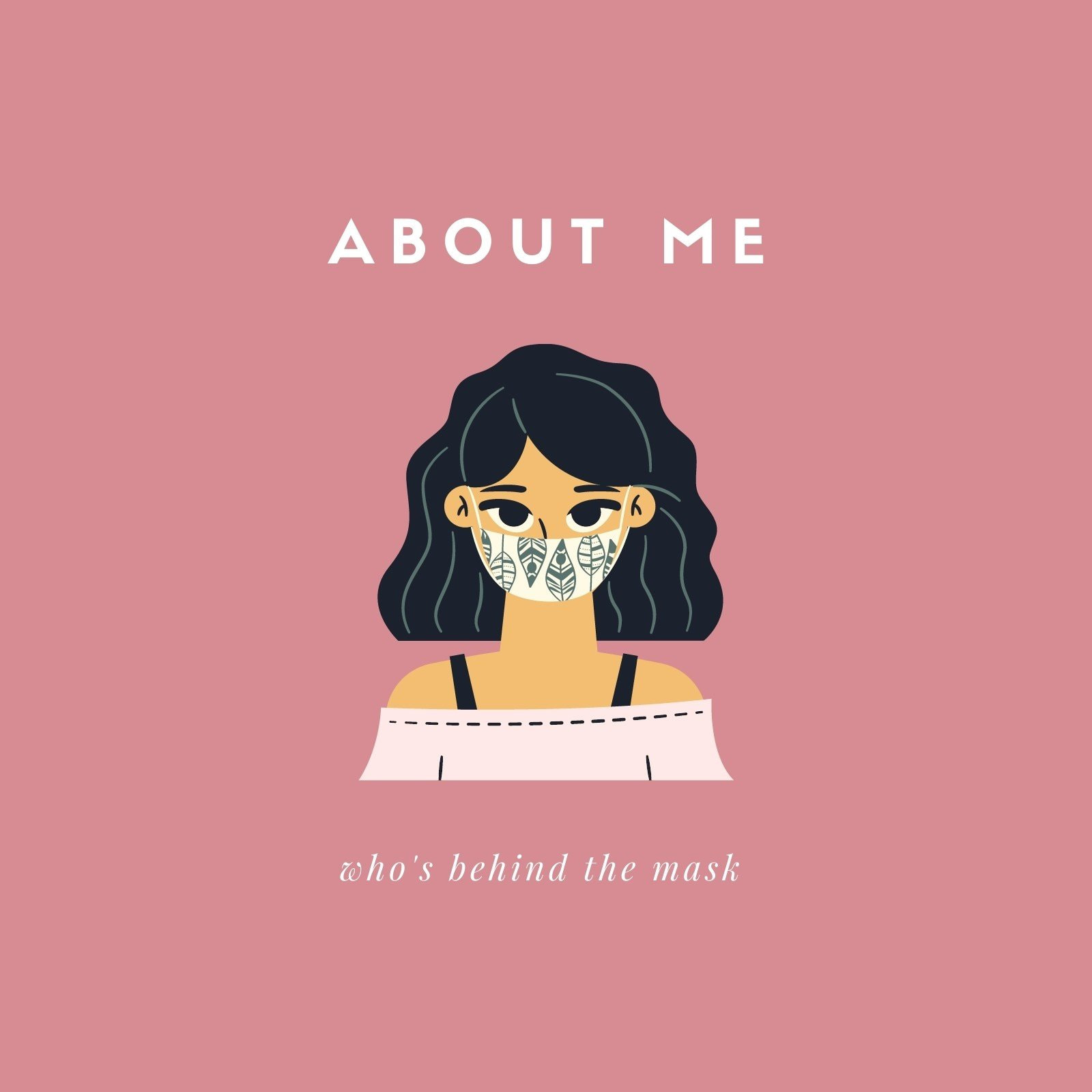 About Me Illustrated Avatar with Mask Social Media Post