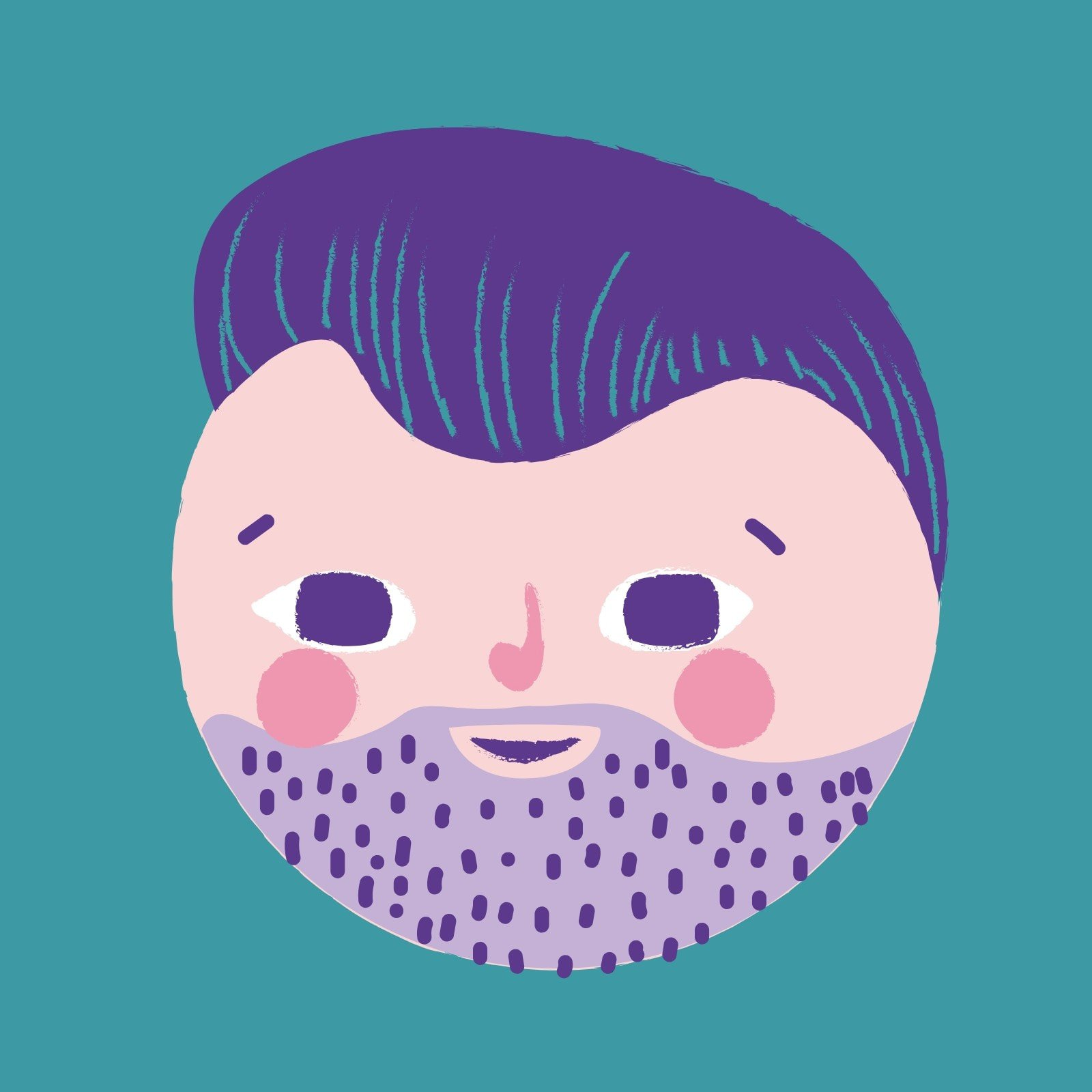 Purple and Pink Cute Man Face Laptop Sticker