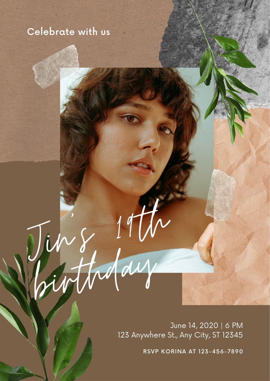 Brown Woman Photo Modern Scrapbook Portrait Birthday Invitation