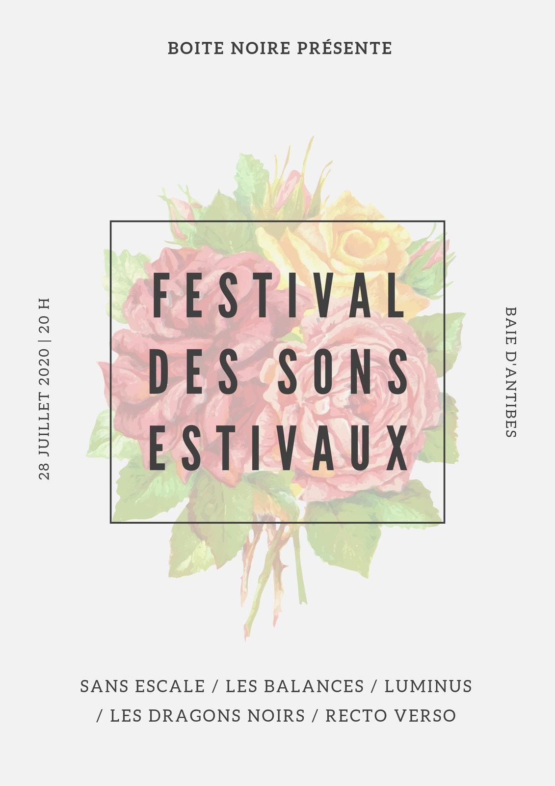 Blanc sale Floral Aquarelle Illustration Musique Estivale Festival Affiche