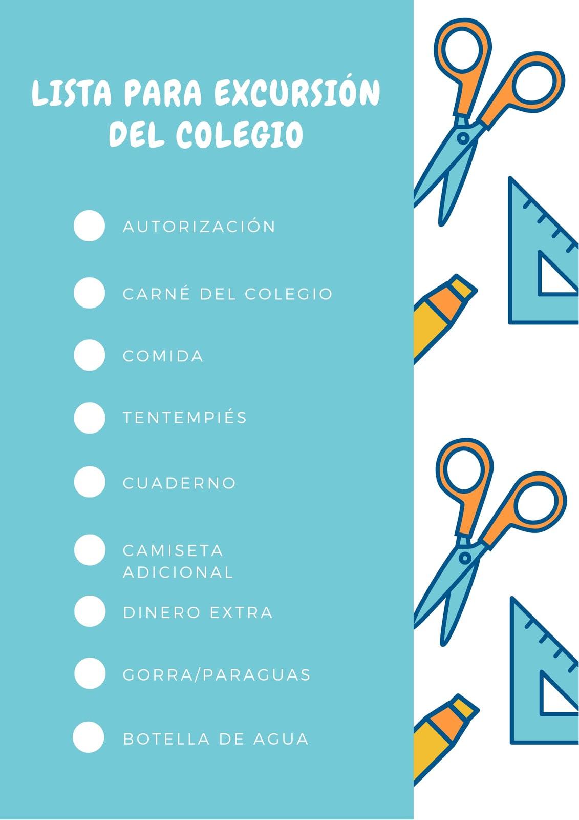 Azul Blanco Naranja Escuela Verificación Lista
