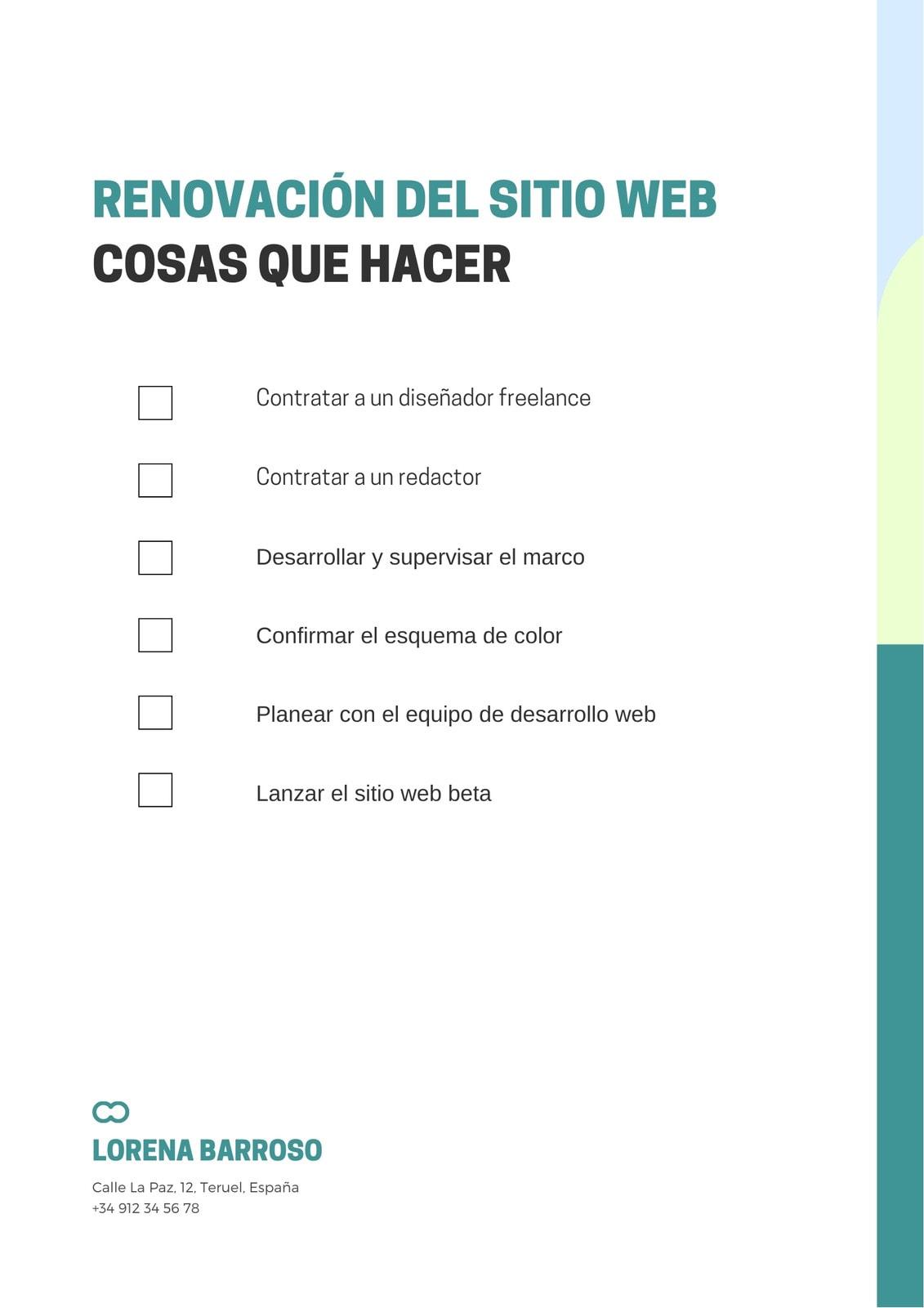 Lista de Verificación Renovación Sitio Web Verde Casual