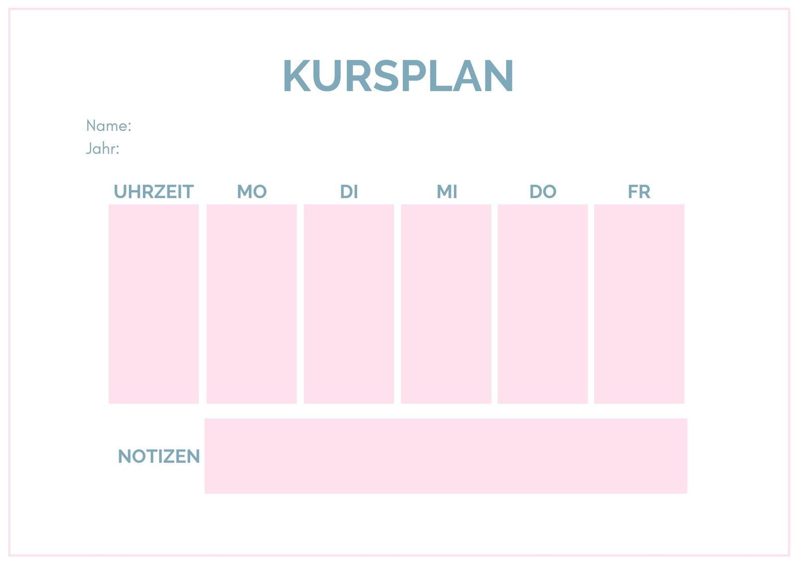Rosa Blau Weiß Einfach Stundenplan