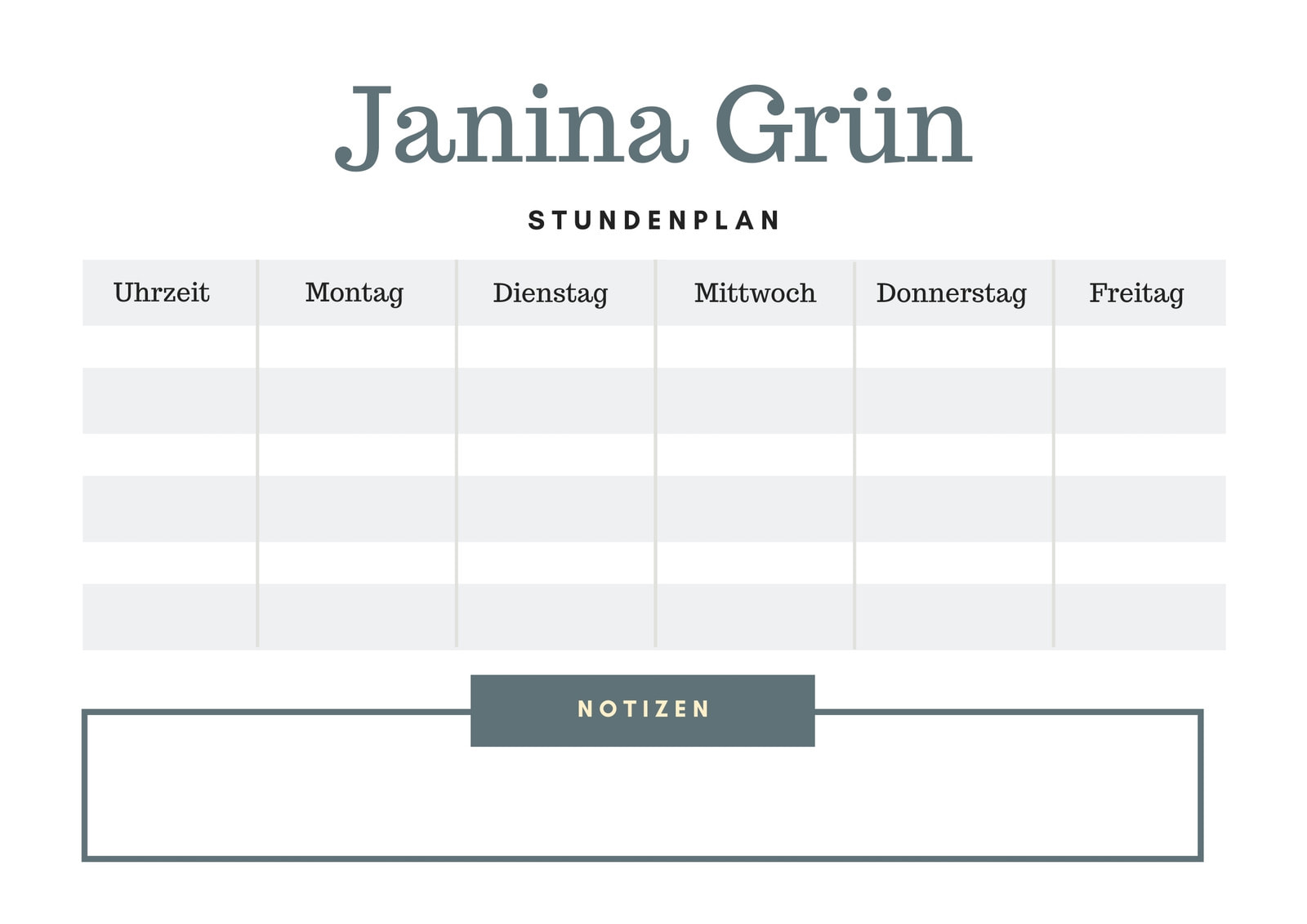 Grau Einfach Klasse Stundenplan