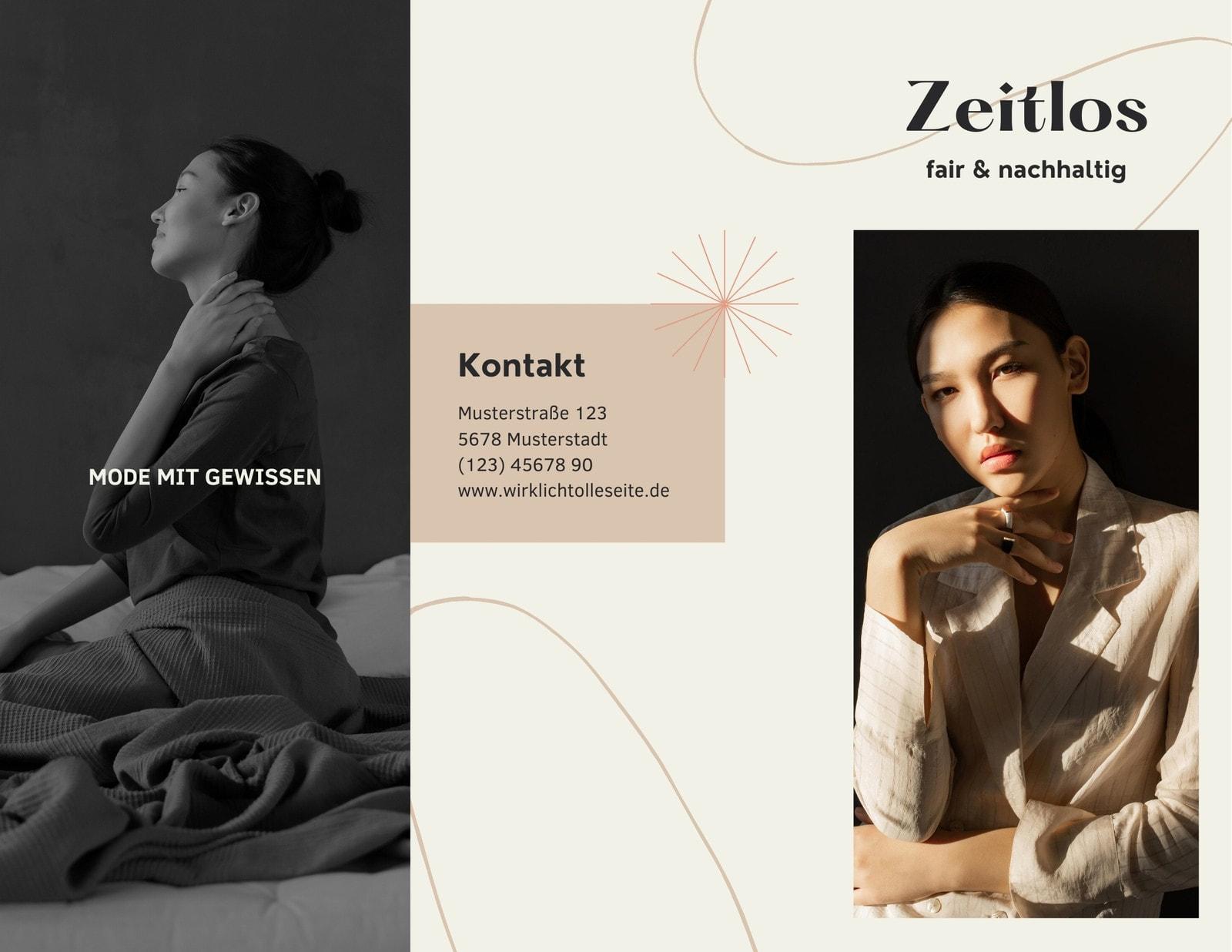 Creme-beige Minimalistisch Fashion Dreiseitige Broschüre