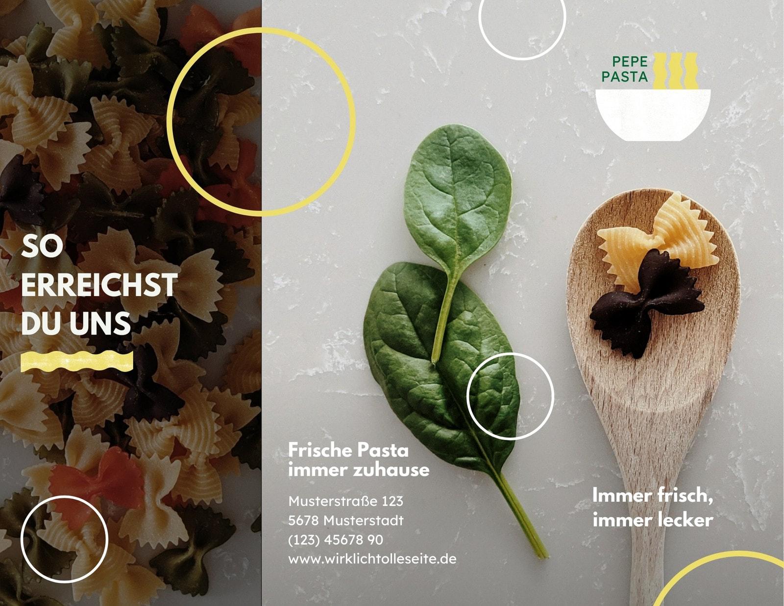 Grün-weiß Modern Pasta Dreiseitige Broschüre