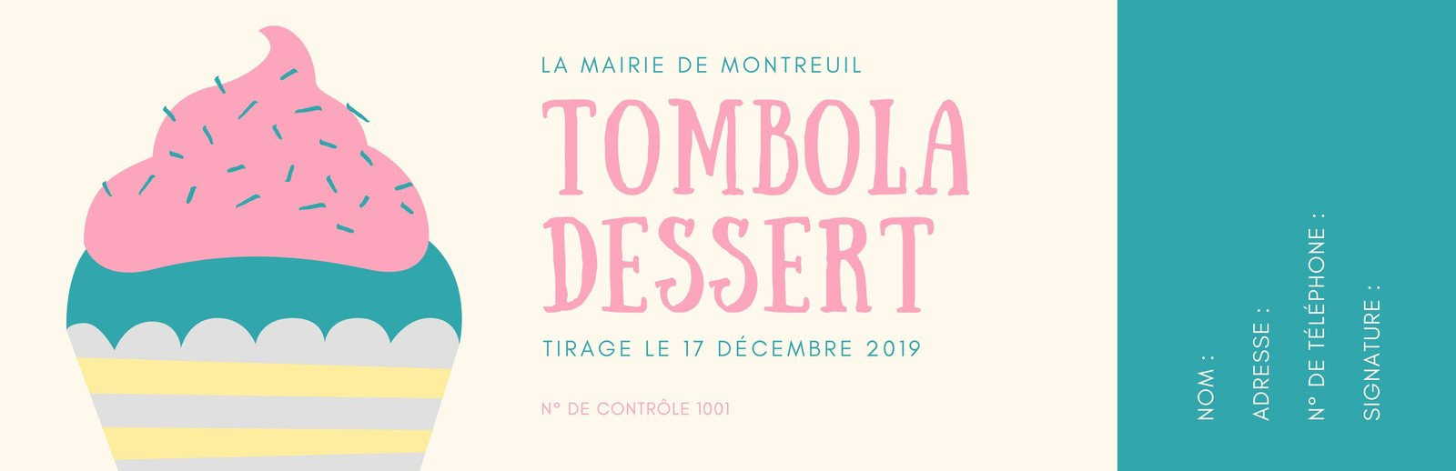 Crème et Sarcelle Gâteau Tombola Billet Turquoise