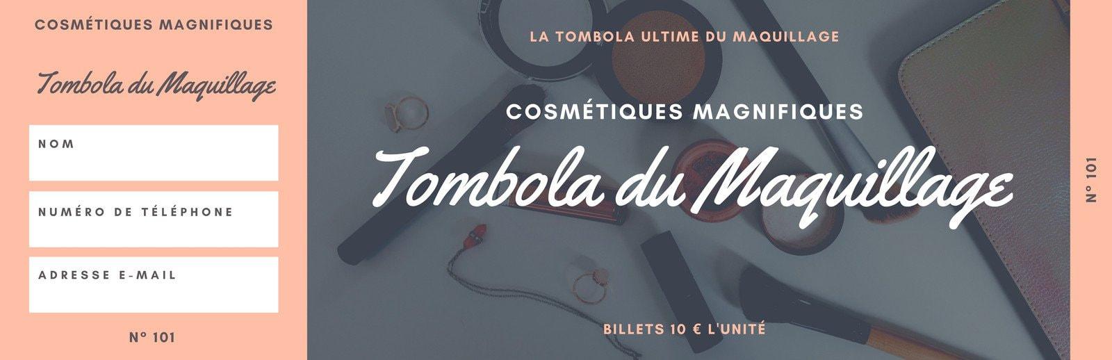 Pêche et Gris Maquillage Tombola Billet
