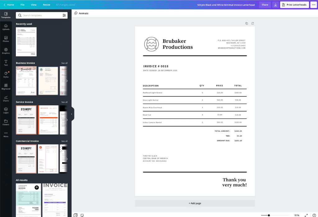 How to make an invoice - Canva