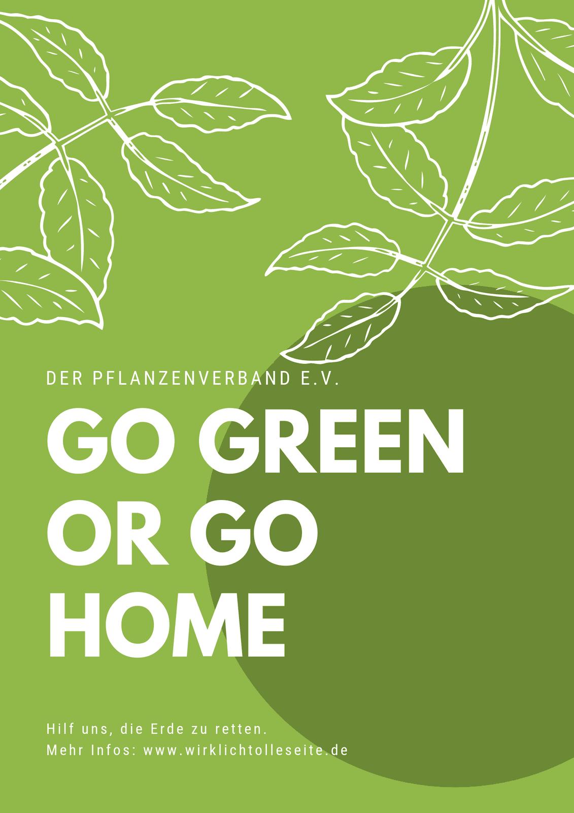 Grün illustriert Blätter Natur Umweltschutz Poster