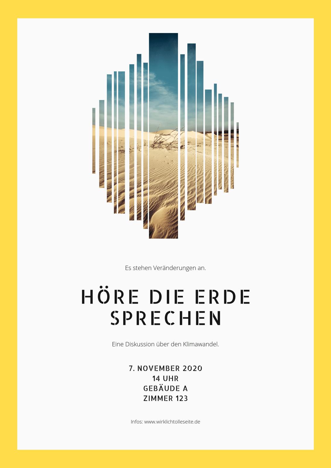 Gelb & Weiß mit Foto Umwelt Schutz Veranstaltung Poster