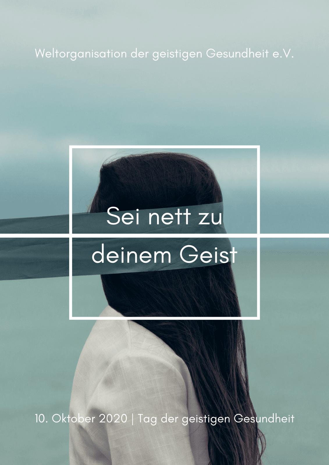 Blaugrün Foto minimalistisch geistige Gesundheit Poster