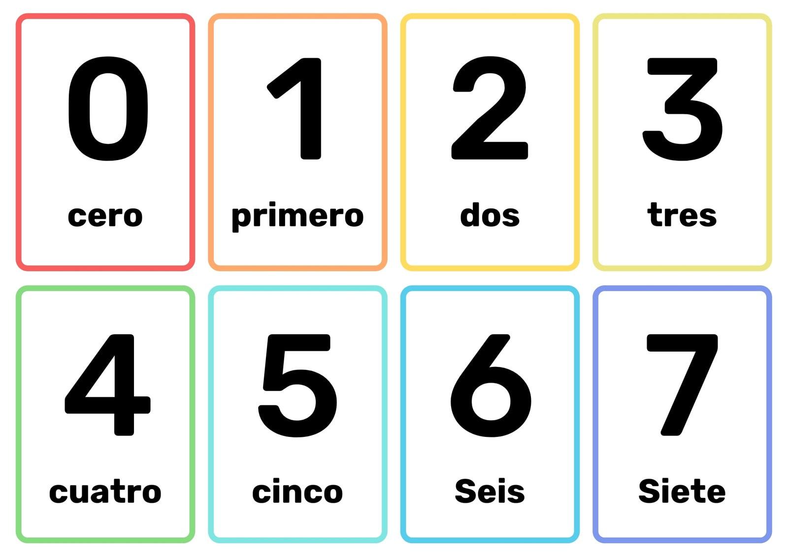 Tarjetas Número Sencillo Negro Marco Colores