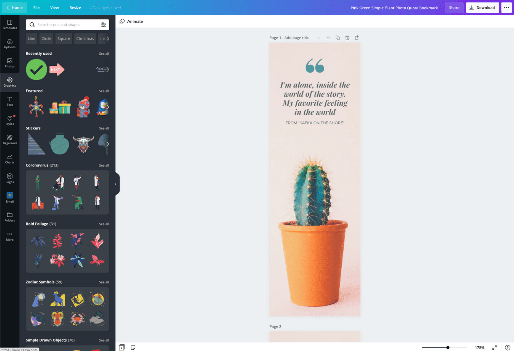 How to make a bookmark - Canva