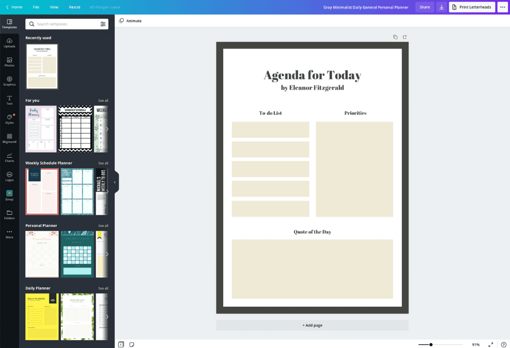 How to make a personal planner - Canva