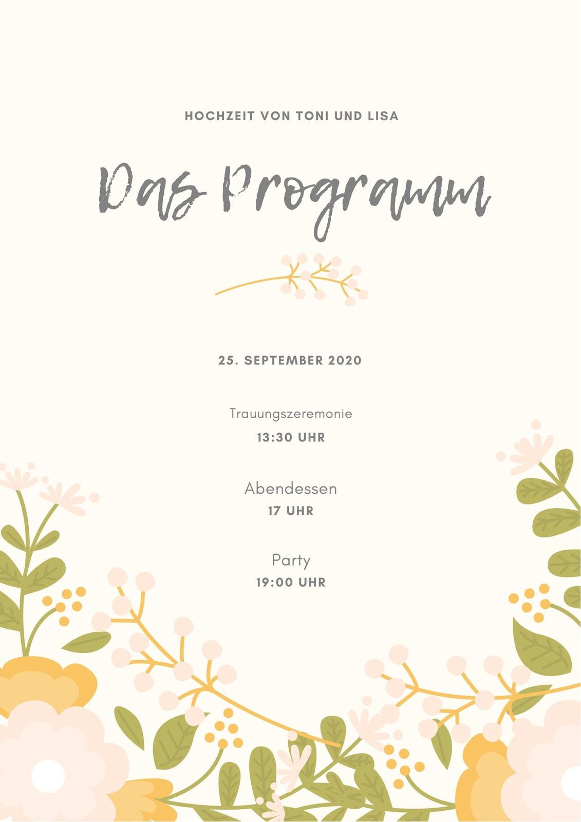 Beige Floral Hochzeit Programm