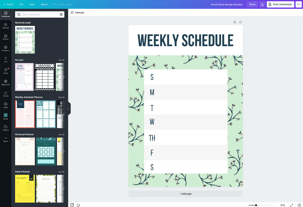 How to make a weekly schedule - Canva