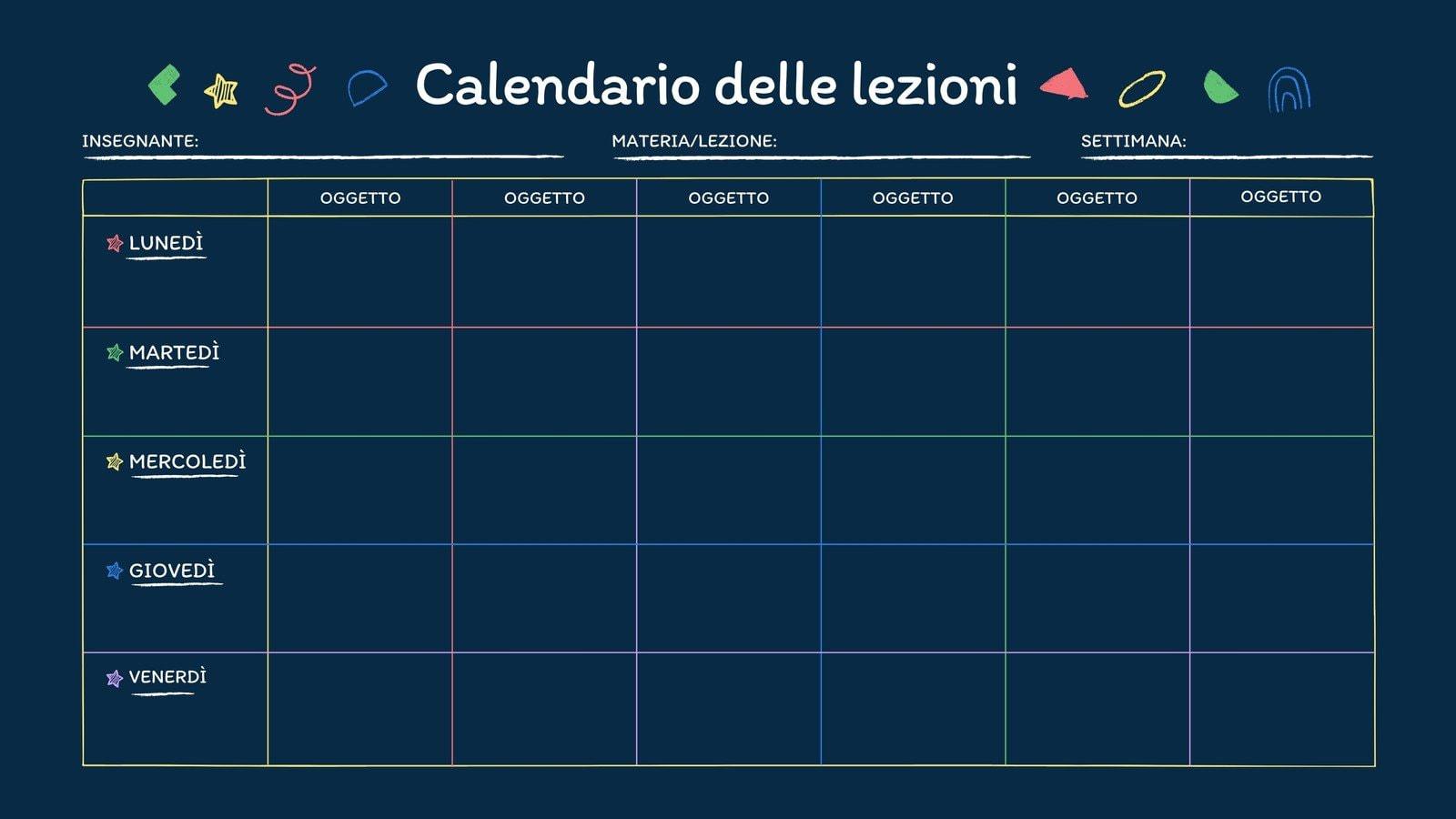 Vuoto Lavagna Calendario Programma Didattico