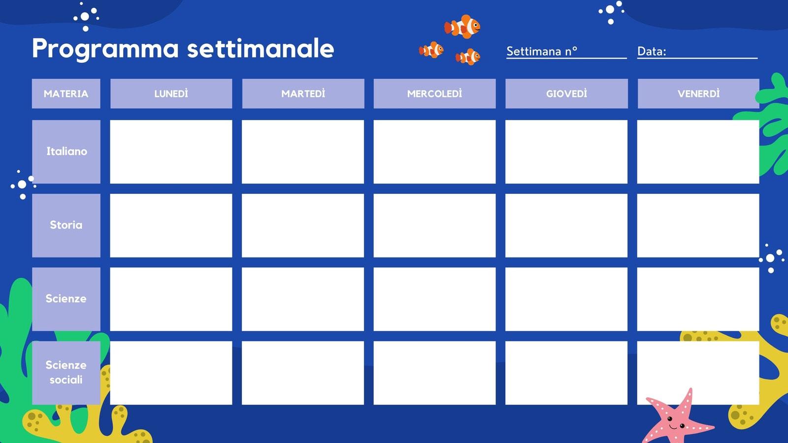 Oceano Vuoto Lezione Calendario Settimanale