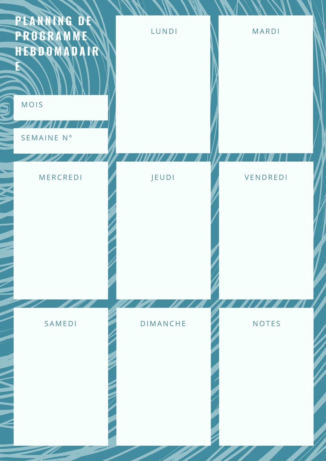 Bleu Vague Motif Hebdomadaire Calendrier Planning