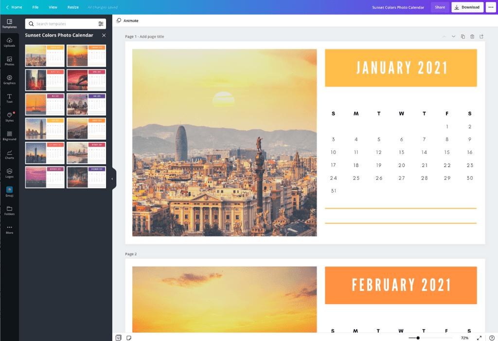 How to make a calendar - Canva