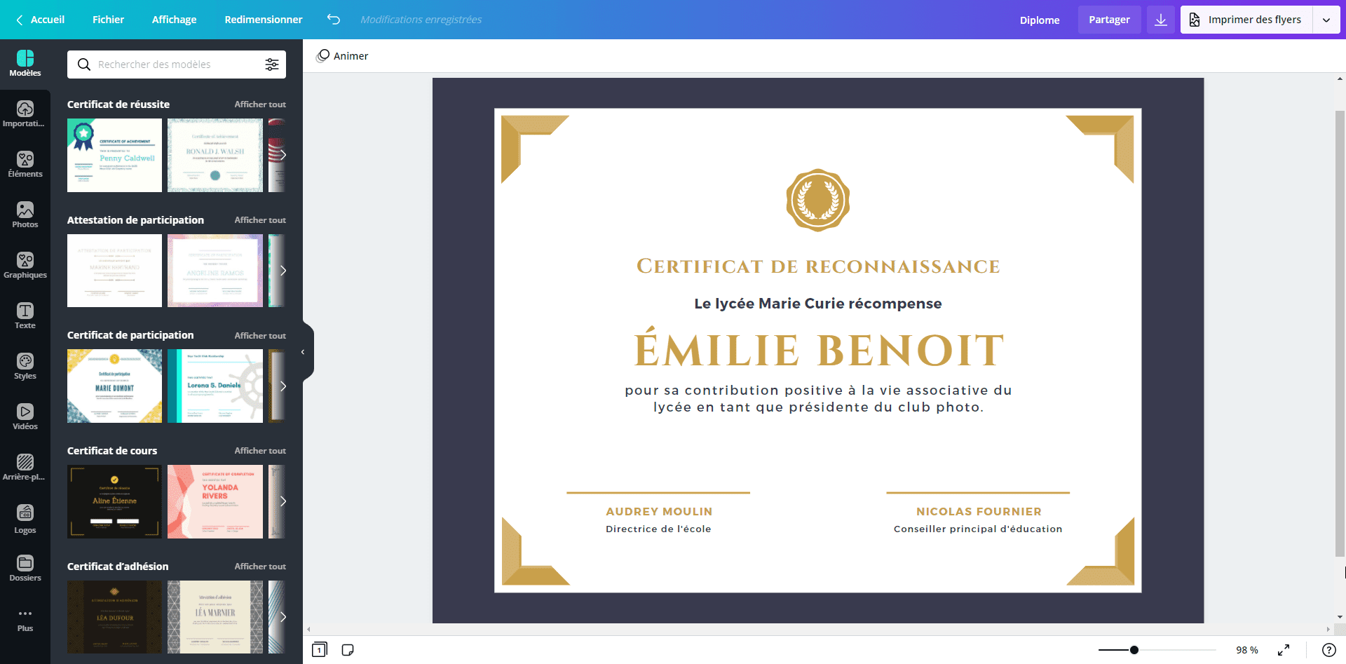diplome certificat