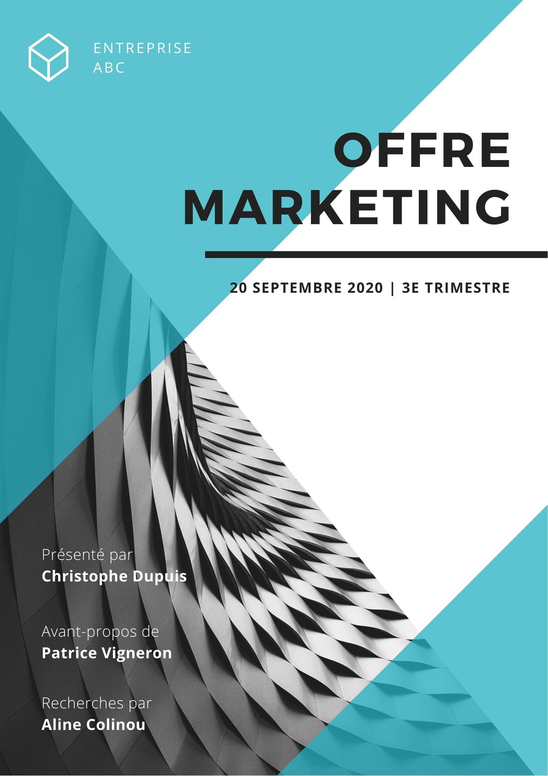 Bleu et Blanc Triangle Forme Marketing Offre