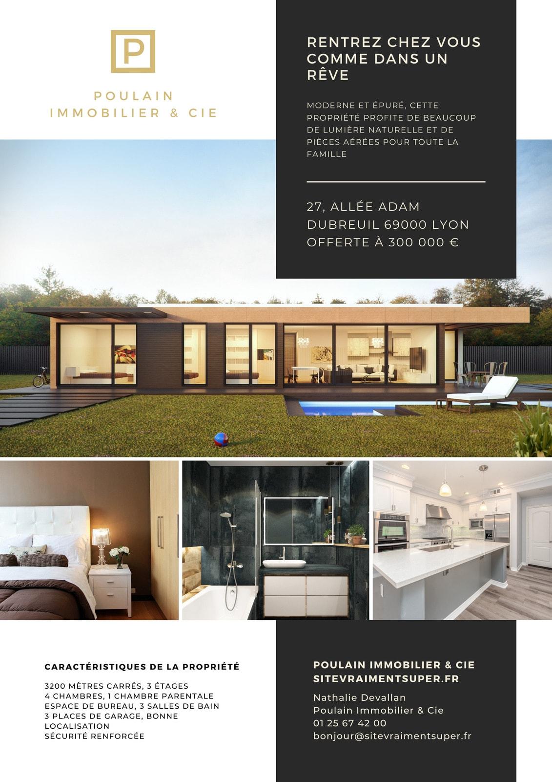 Doré et Charbon Immobilier Commerce Flyer