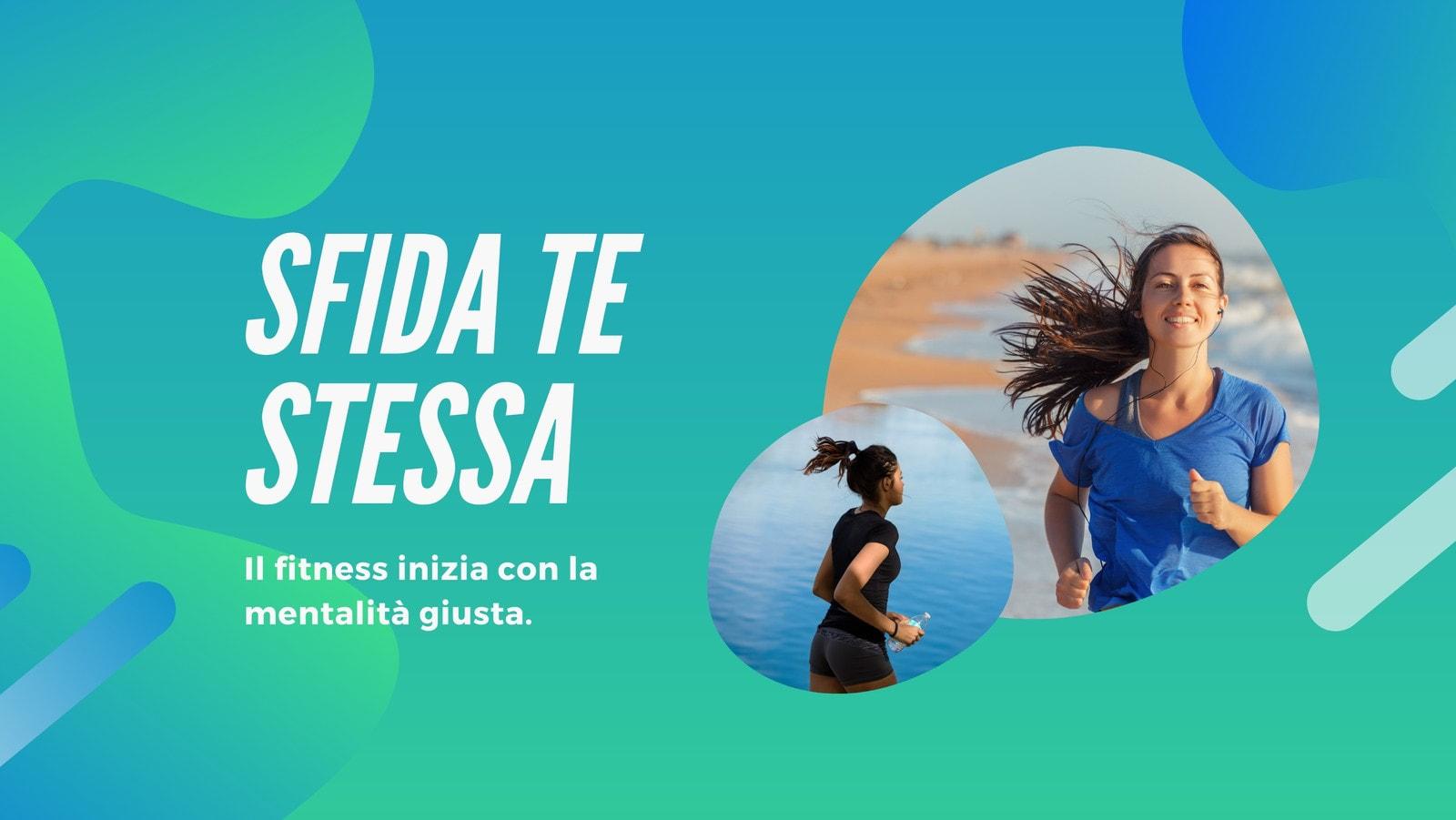 Blu e Verde Forma Fitness Influencer Neon Noir Copertina di Facebook